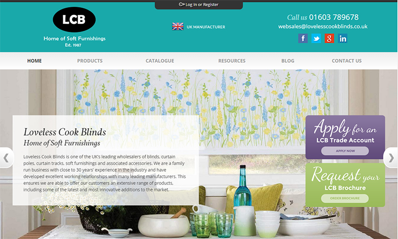 Loveless Cook Blinds homepage