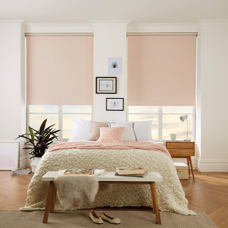 Modern pink roller blinds by Louvolite available from Loveless Cook Blinds