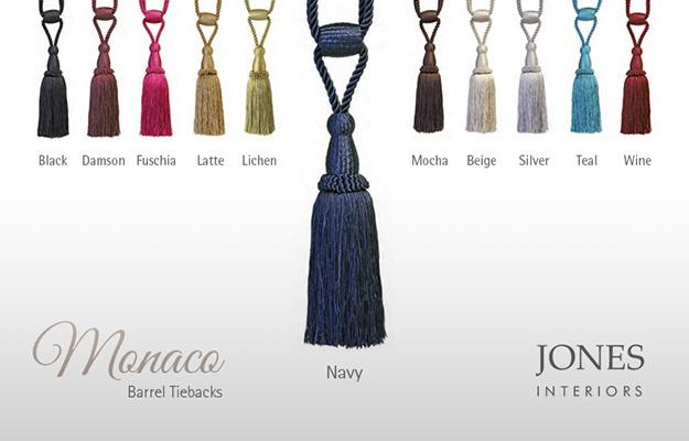 Monaco range of curtain tiebacks