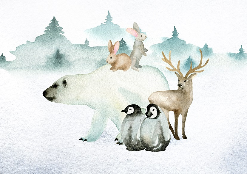 North Pole illustration with additional penguins