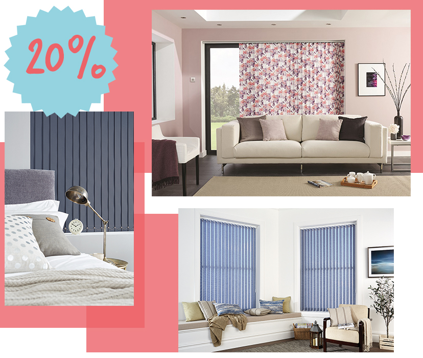 Save 20% on made to measure vertical blinds