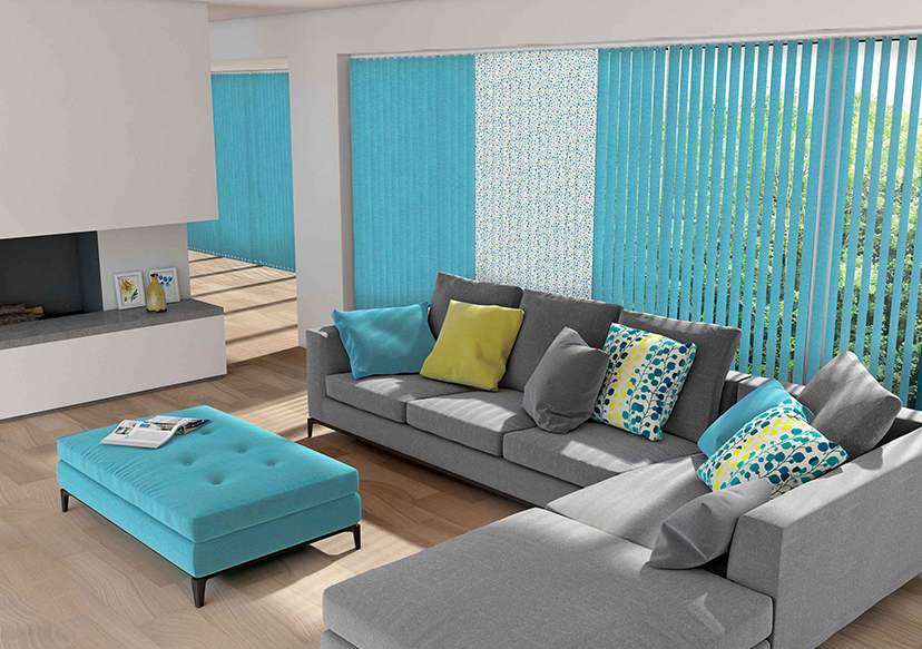 Blue vertical window blinds