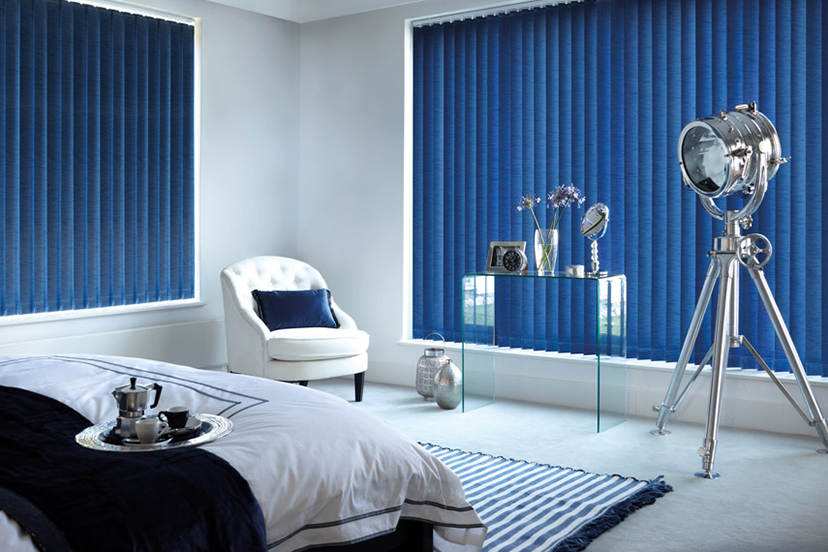 Blue window blinds