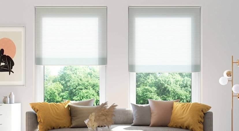 pleated blinds in living room