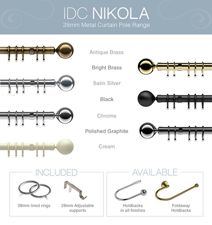 IDC Nikola curtain poles