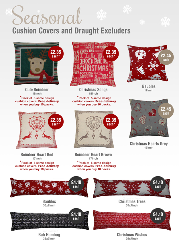Seasonal cushion covers and draught excluders