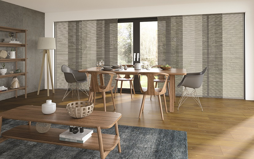 interference pattern textured panel blinds