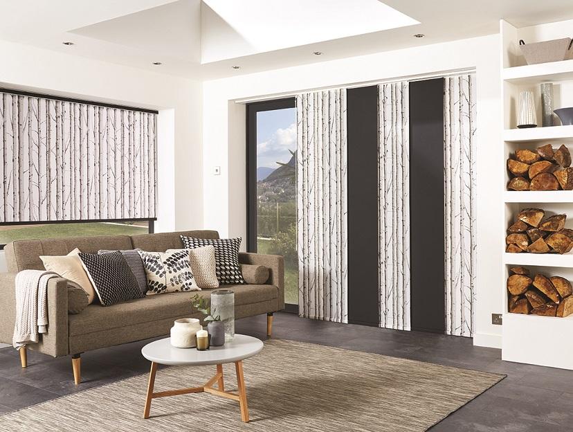 panel blinds in front of bifold doors