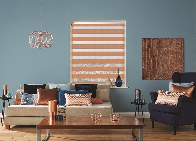room set with Louvolite zebra shades