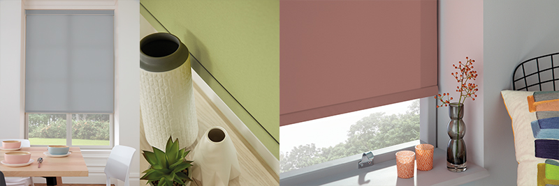 Louvolite Iona and Skye Roller Blinds available from Loveless Cook Blinds
