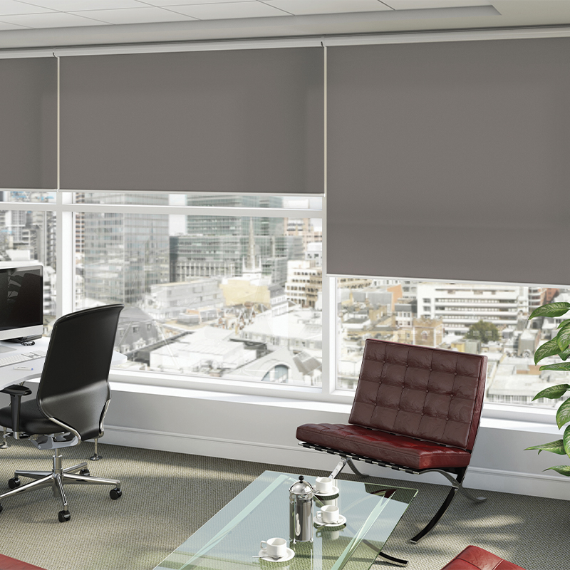 Modern grey roller blinds by Louvolite available from Loveless Cook Blinds