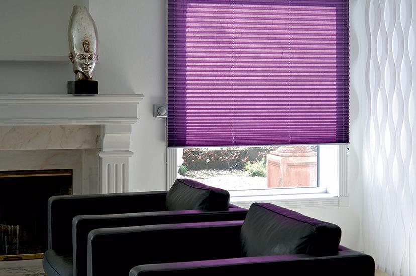 Purple pleated window blind