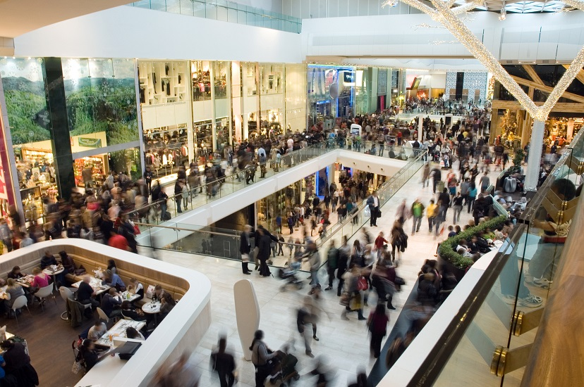 Shoppers in a mall for black Friday sales