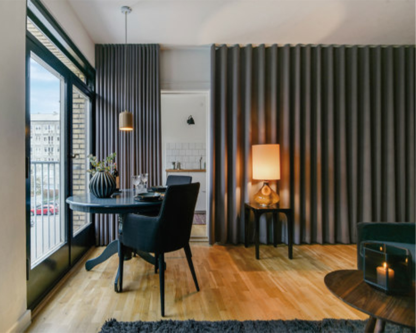 Silent Gliss Curtains in Modern Apartment