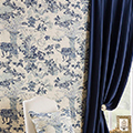 Blue curtain fabric.