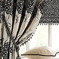 Brocade curtain fabric.