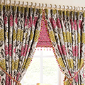 Patterned curtain fabric.