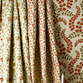 Patterned curtain fabrics.