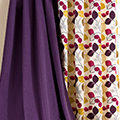 Purple and patterned curtain fabrics.